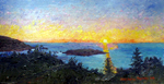 Clousy Sunset on Monhegan Island Painting