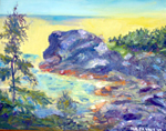Back Cliffs of Monhegan Island, ME - Painting